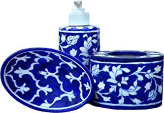 The Himalaya Craft Mitti Blue Pottery Cermic Tooth Brush Holder With Lotion Dispenser And Soap dish