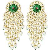 Peora Gold Plated Brass Kundan Stones & Pearl Earrings For Women
