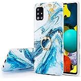 Uposao Kompatibel mit Samsung Galaxy A51 H/ülle Handyh/ülle Gl/änzend Glitzer Bling Marmor Muster Weiche TPU Silikon H/ülle Crystal Clear Bumper Case Ultra D/ünn Handytasche,Marmor Rosa Wei/ß
