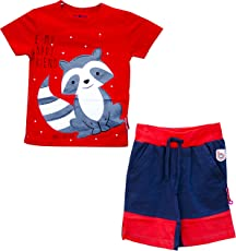 Baby Nation - Boy's Grey Fox Printed T-Shirt with Half Trouser