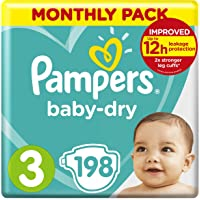 Pampers Baby-Dry Size 3, 198 Nappies, 6-10kg, Monthly Saving Pack, Air Channels for Breathable Dryness Overnight