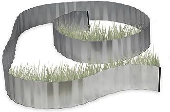 Relaxdays Rasenkante verzinkt, Beetumrandung Metall, Beeteinfassung als Wurzelsperre, 5 m x 16 cm, flexibel, silber, grau