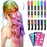Tizas Para el Pelo, Kastiny 6 no Tóxico Colores Tizas Cabello& 6 cerosos Hair Chalk, con 32 plantillas de tatuajes Tiza de Co