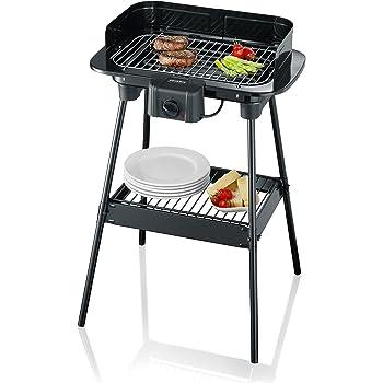 Severin - 8523 - Barbecue sur Pieds - 2300 W - noir - grille chromée - thermostat - pare-vent