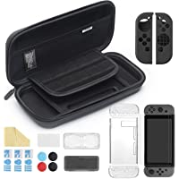 iAmer 11 en 1 Accessoires pour Nintendo Switch, Housse pour Switch,Protection Transparente,3 Protection écran,Protection en Silicone pour JoyCon,Thumb Grip, Boitier pour Carte de Jeux