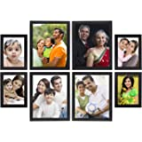 Amazon Brand - Solimo Collage Photo Frames, Set of 8, Wall Hanging (4 pcs - 5x7 inch, 4 pcs - 8x10 inch),Black
