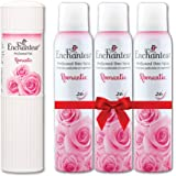 Enchanteur Romantic Perfumed Talc for Women, 250g & Enchanteur Romantic Perfumed Deo Spray for Women infused with real French