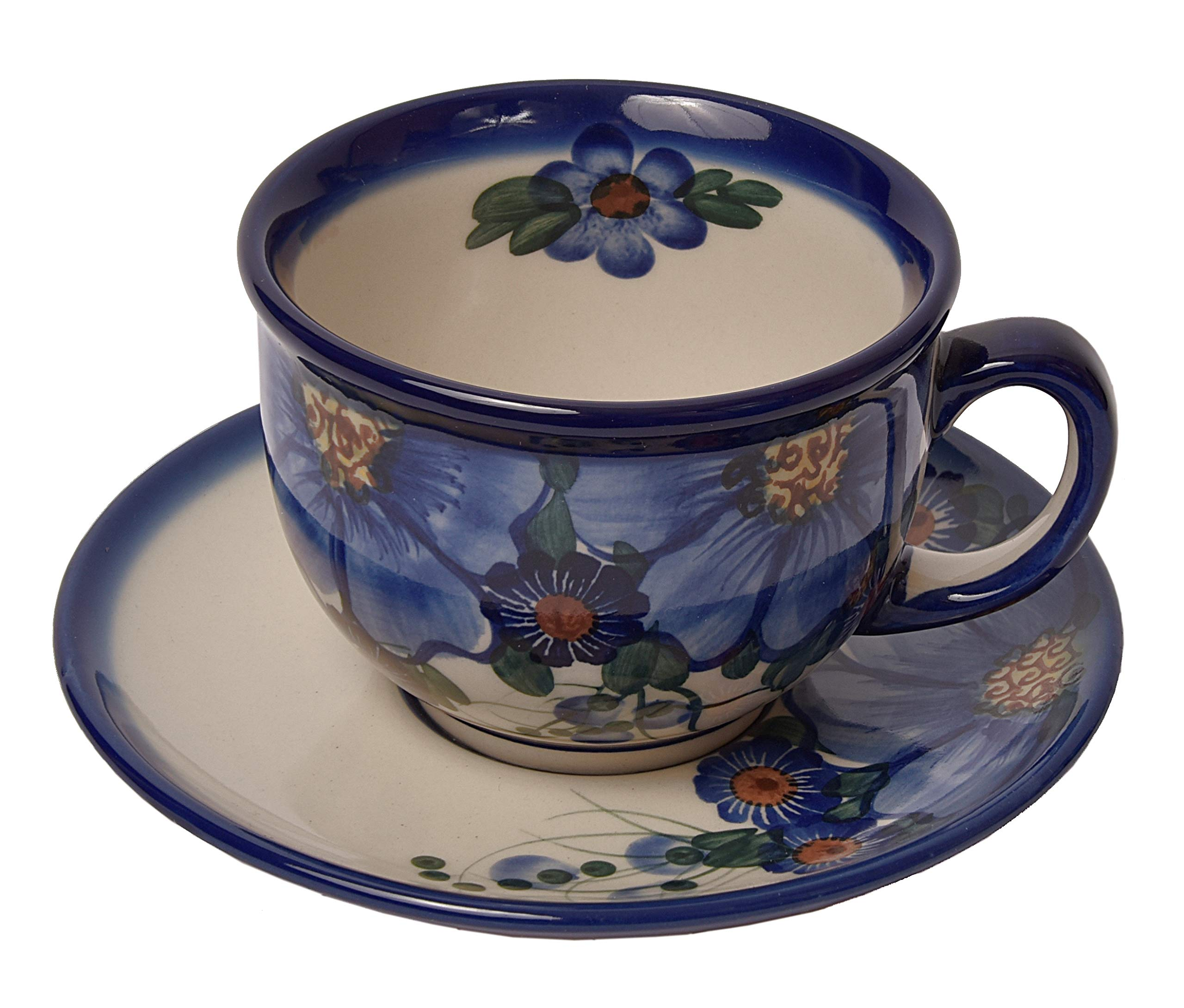 Traditional Polish Pottery, Handcrafted Ceramic Teacup and Saucer 210ml, Boleslawiec Style Pattern, F.101.Passion