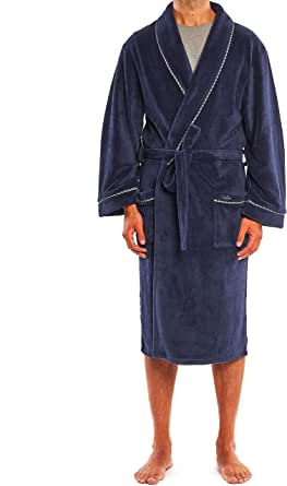 Savile Row Men's Super Soft Dressing Gown - Fleece Lightweight Bath Robe Warm Cozy Sleepwear
