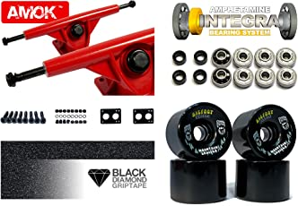 "Longboard Achsen Set Advanced | Amok Trucks 7"" 180mm | Amphetamine Integra ABEC 7 Kugellager | Bigfoot Wheels | inkl Hardware & Griptape"
