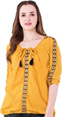 AANIA Women's Cotton Embroidered Top