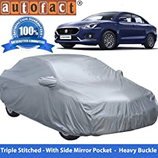 Autofact Premium Silver Matty Triple Stitched Car Body Cover with Mirror Pocket for Maruti Swift Dzire 2017