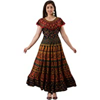Parii Fashion Jaipur Cotton Flared/A-line Stitched Casual Long Maxi Dress for Women - (Free Size)