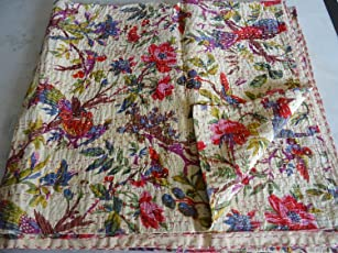 Sovereigns Tribal Asian Textiles Cotton Hand Made Bird Print King Size Kantha Quilt/Bed Cover, 90 x 108 Inch (Multicolour, SOV-0419)