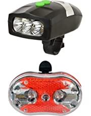 Dark Horse 001 LED Headlight with Horn and Rear Light Bicycle Combo, Adult-Multicolored