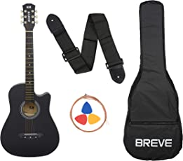 Breve BRE-38C-BK Acoustic Guitar with Bag (Black)