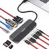 TSUPY HUB USB C 11 en 1 Diseño de Tela Tipo C HUB con 4K HDMI, VGA,Transferencia de Datos Tipo C, USB-C PD, 3 USB 3.0/2.0,Lec