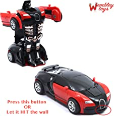 Wembley Toys Friction Family TRANSFORMER Toy Racing Car - Manually convert from Car to Robot