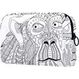 Kosmetiktasche Große Kosmetiktasche Reißverschlusstasche Reisekosmetik tragbarer Organizer Kulturbeutel AFFE Kopfabstract für
