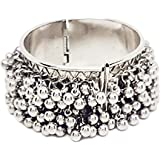 Total Fashion Silver Tone Adjustable Bangle Bracelet for Women Ethnic Jewelry with Ghungroo