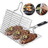 ACMETOP Bärbar grillkorg, grillkorg i rostfritt stål med avtagbart handtag, perfekt för grillning av grönsaker, fiskar, räkor