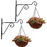Leafy Tales Plant Hanger Brackets Wall Mounted - Metal Hanging Hooks, Holder for Indoor Outdoor Planters - Black - Set of 2