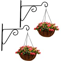 Leafy Tales Plant Hanger Brackets Wall Mounted - Metal Hanging Hooks, Holder for Indoor Outdoor Planters - Black - Set…