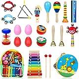 Jojoin Instruments de Musique pour Enfants, 24PCS Set en Bois Percussion pour Bébé avec Xylophone, Tambourin, Triangle et Aut