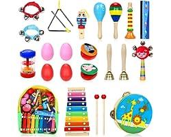 Jojoin 24 Pcs Juguetes Instrumentos Musicales, 14 Tipos de Juguetes de Instrumentos, Juguete Música Instrumento, Educativo Be