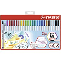 Feutre pinceau - STABILO Pen 68 brush- boite métal x 25 feutres- coloris assortis