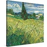 PICANOVA – Vincent Van Gogh Green Field 80x80cm – Premium Afdruk Op Canvas – Wanddecoratie Canvas Op Een Houten Frame Gespann