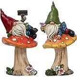 TERESA'S COLLECTIONS Nain de Jardin Drôle Ensemble de 2 Figurines de Jardin Nain de 17cm Allongé sur Les Champignons en Résin