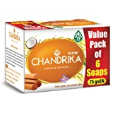Chandrika Sandal & Saffron Glow Soap, 75g (Pack of 6)