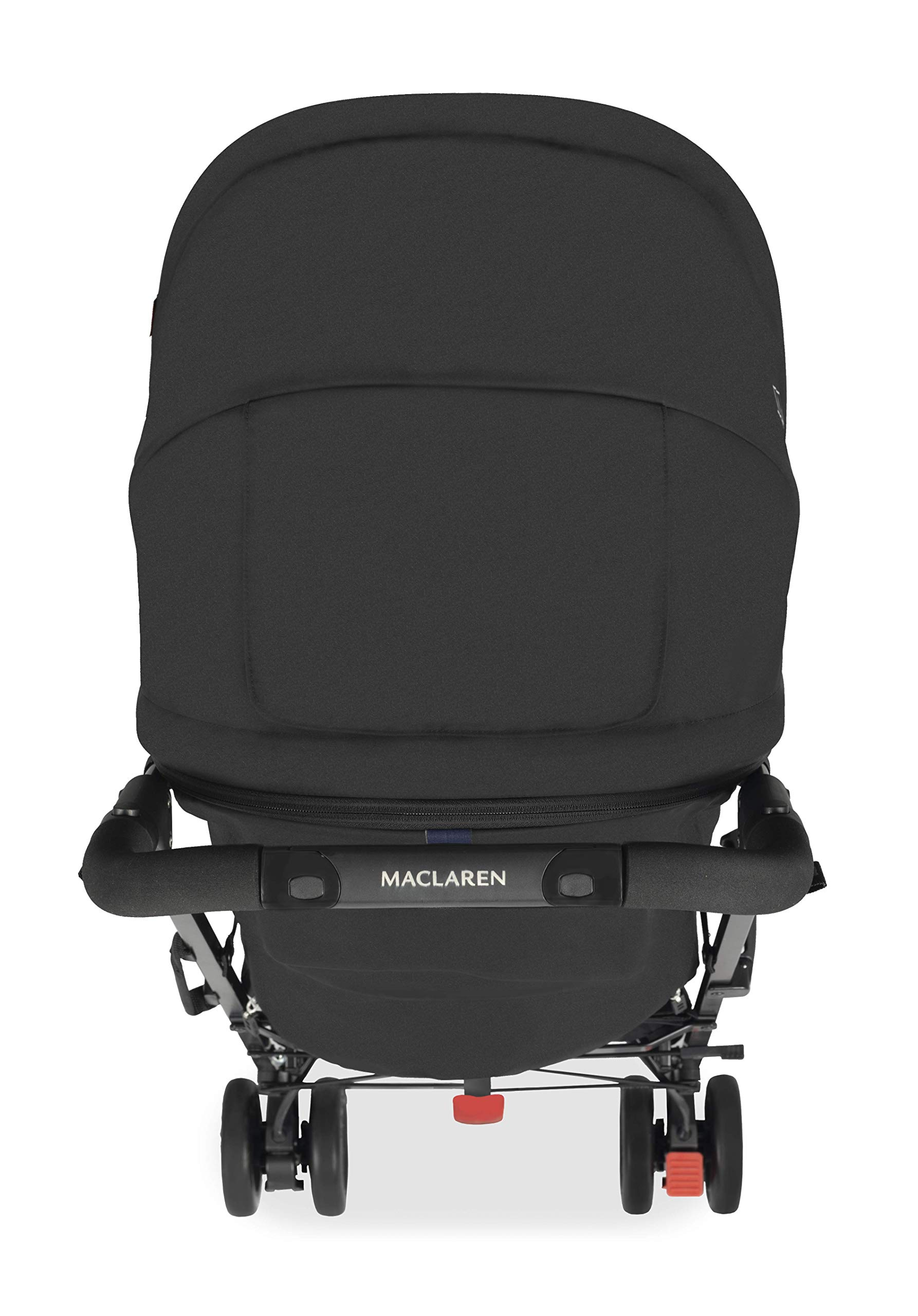 Maclaren Techno arc Stroller - lightweight, compact,Black/Black Maclaren The techno arc's basic weight is 7.1kg; ideal for newborns and children up to 25kg. The folded dimensions are 113cm L x 35cm w x 35cm H. The stroller is assembled The techno arc's padded seat reclines into 4 positions and converts into a new-born safety system. Coupled with ultra light flat-free eva tires and all wheel suspension The techno arc includes a wind-resistant rain cover and headhugger & shoulder pads. Waterproof/ upf 50+ hood to protect from the elements and machine washable seats to keep tidy 6