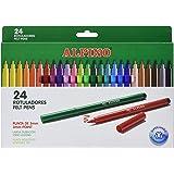 Rotuladores Alpino Coloring para Niños - Estuche de 24 Colores con Punta Fina 3mm - Tinta Lavable - Perfecto para Manualidade