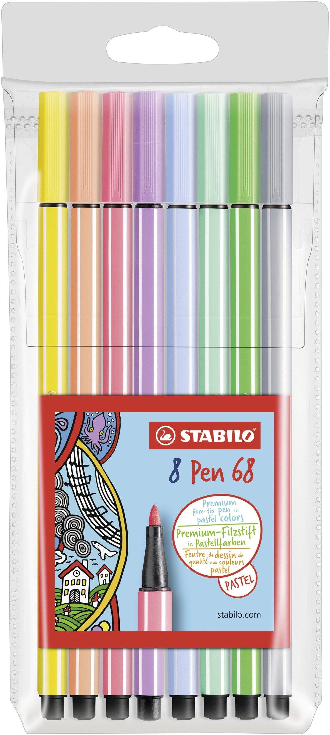 Stabilo 68/8–01Premium De Fieltro lápiz 68, 8Unidades, Color Pastel