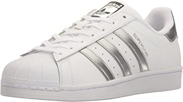 adidas Originals Women's Superstar Fashion Sneaker, White/Silver Metallic/Black,5 B(M) US