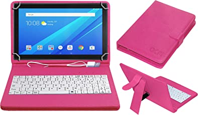 ACM USB Keyboard Case for Lenovo Tab4 10 Tablet Cover Stand with Free Micro USB OTG - Pink