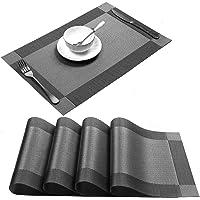U'Artlines Lot de 4 Sets de Table tressé en PVC antidérapant Lavable pour Salle à Manger, Set de Table Gris(4,Gris)
