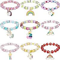 9 Pièces Bracelet Licorne Colorée Bracelets Licorne Filles Bracelet en Perles de Licorne Arc-en-Ciel pour Faveurs de…