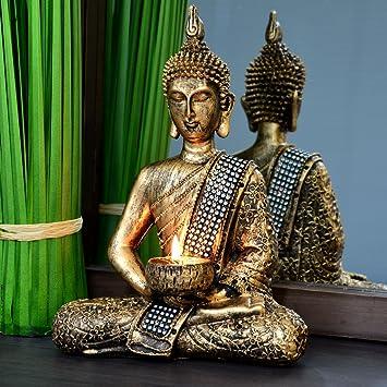 Buddha Statue Dekoration Wohnzimmer 26cm Bronze