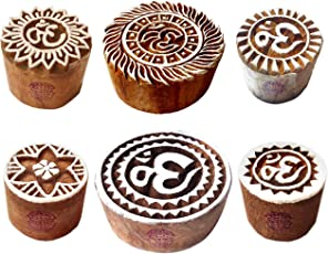 Clay Printing Stamps Designer Round Om Sign Shape Wooden Blocks (Set of 6)
