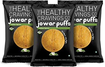 Healthy Cravings Premium Crunchy Jowar Puffs (6 Packs) - Indian Spices (150g)