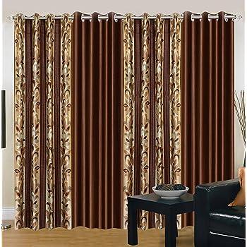 Export Hub Floral 4 Piece Eyelet Polyester Door Curtain Set - 7ft, Brown