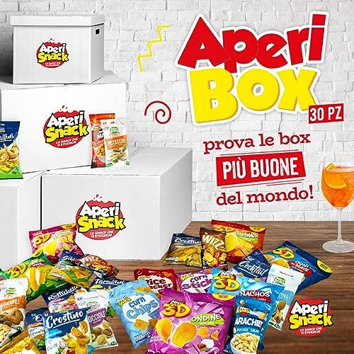 APERIBOX 30 - AP18.001.02 Fantastica box piena di snack salati, stuzzichini per aperitivo e frutta secca. Almeno 30 prodotti, ottima idea regalo!