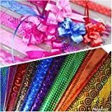 DSR (5 Colours x 5 Sheets Each) Plastic Holographic Metallic Colour Paper Wrapping Sheets Especially for Gifts for Loved, 65c