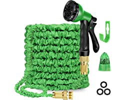 100ft Expandable Garden Hose, Water Hose with 8 Function Nozzle, Durable 3-layer latex, Solid Brass Fittings, Leakproof Light
