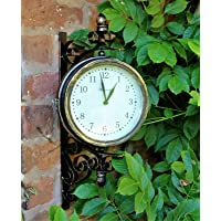 Outdoor Garden wall Station Clock & Temperature with Bracket, swivels 21cm face