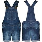 clicktostyle Girls Dungaree Shorts 100% Cotton Kids Jeans Dress Jumpsuits