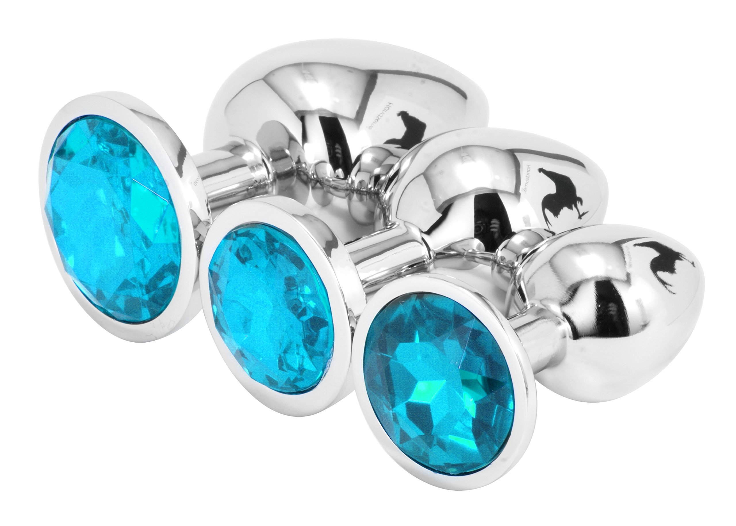 Handsome Cock Jewelled Butt Plug Set, Turquoise